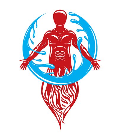 Illustration of human being standing, mythic ancient god. Prometheus surrounded by a water ball, water and fire diversity and harmony. Illustration