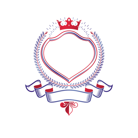 Graphic emblem composed with royal crown element and luxury ribbon. Heraldic Coat of Arms decorative logo isolated vector illustration.