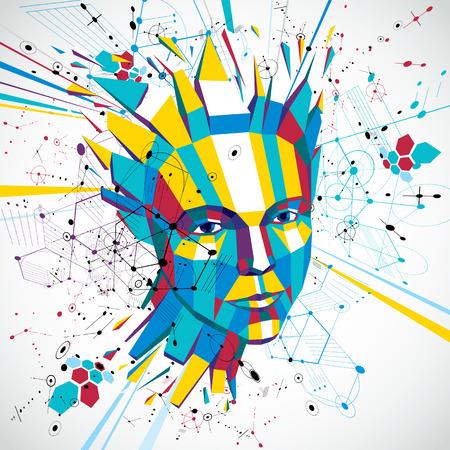 Niedriges Polyporträt 3d einer intelligenten Frau, Metapher der menschlichen Gedanken mit künstlerischem Hintergrund. Standard-Bild - 84120639
