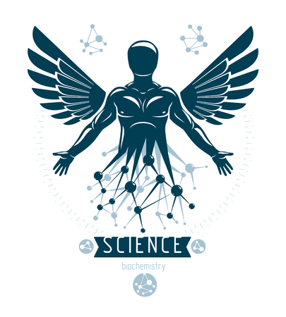 Vector graphic illustration of human being, individuality created with mesh wireframe connections and bird wings. Human as the object of biochemistry research.
