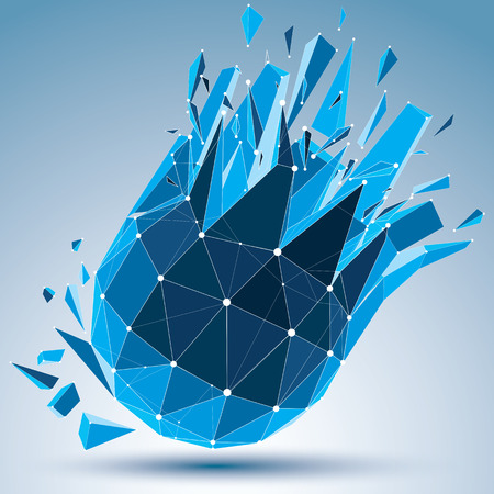 3d vector digital wire frame spherical object broken into different particles and fragments.