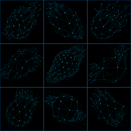 Set of 3d vector low poly objects with blue connected lines and dots, wireframe shapes with particles. Collection of perspective shattered forms. Luminescent effect, communication technology.