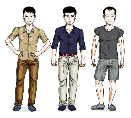 t shirt model: Handsome young men posing wearing casual clothes. Vector set of beautiful people illustrations.