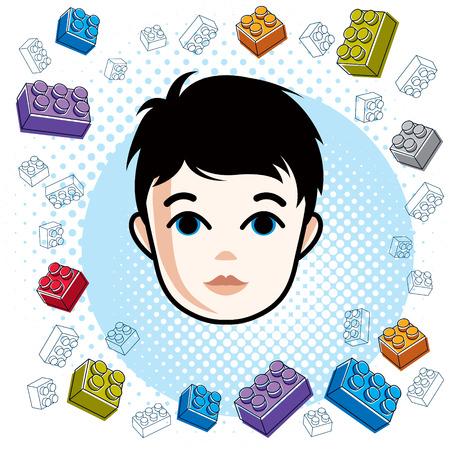 Cute boy face, human head. Vector brunet character, toddler face features, clipart.