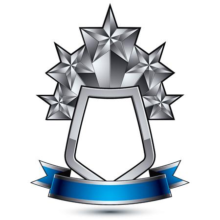 5 보호 실버 방패에 배치하는 물결 모양 리본으로 실버 스타 벡터 정교한 오각형 디자인 요소, 명확한 EPS 8 엠 블 럼.