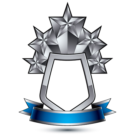 Five vector silver stars with wavy ribbon placed on a protection shield, 3d sophisticated pentagonal design element, clear EPS 8 emblem. Illustration