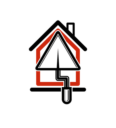Classic spatula icon, build materials. House with work tools, plastering. Home reconstruction idea, repair team stylized symbol.