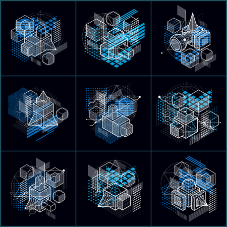 Abstract 3d shapes compositions, vector isometric backgrounds. Compositions of cubes, hexagons, squares, rectangles and different abstract elements. Vector collection.
