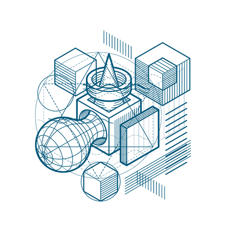 perspectiva lineal: Abstract background with isometric lines, vector illustration. Template made with cubes, hexagons, squares, rectangles and different abstract elements.