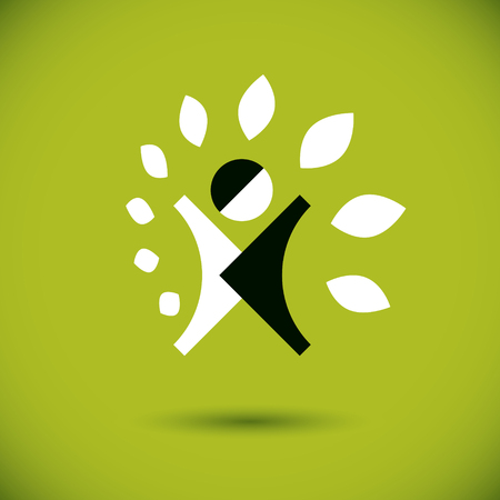 green environment: Vector illustration of excited abstract  man with raised reaching up. Go green idea creative logo. Vegetarian theme icon. Wellness and harmony symbol.