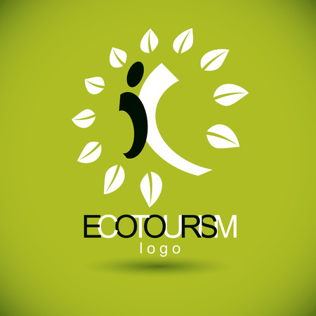 Vector illustration of happy abstract human with reaching up. Ecotourism conceptual logo. Green tourism symbol. Wanderlust and countryside vacation icon.
