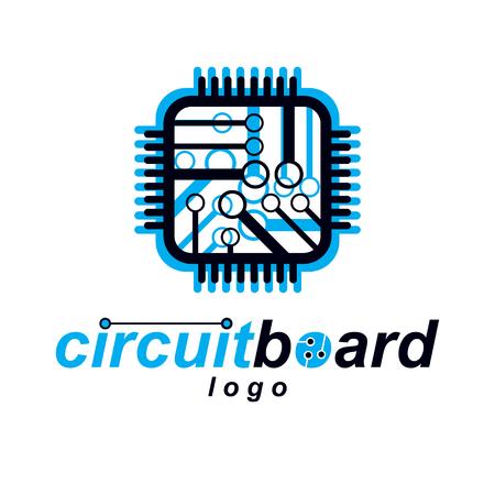 Futuristic cybernetic scheme, vector motherboard. Digital element, square circuit board. Electronic microprocessor logo.