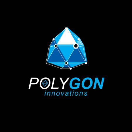 Construction industry logo. Abstract vector 3D mesh polygonal object, science theme illustration.