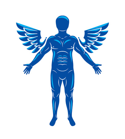 spiritual beings: Athletic man vector illustration isolated on white. Guardian angel, Holy Spirit concept.