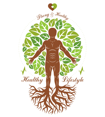 continuation: Vector illustration of athletic man depicted as continuation of tree with roots. Strong heart is good health, wellness center abstraction.