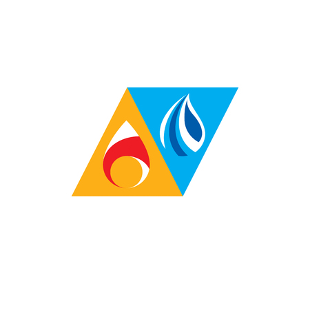 Water and fire as opposite nature elements, Tao symbol. Illustration