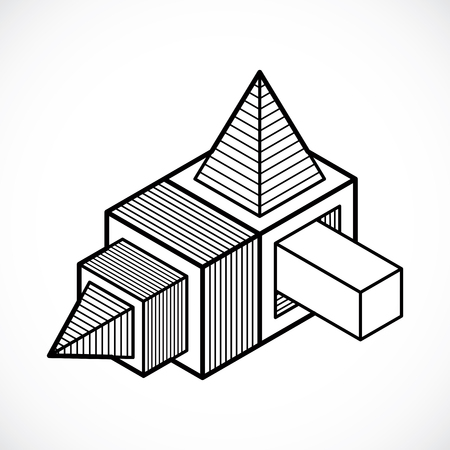 Abstract three-dimensional shape design cube element.