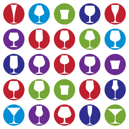 champagne celebration: Drinking glasses collection, martini, wineglass, cognac, whiskey and champagne. Alcohol theme simple vector illustrations, lifestyle design elements. Different goblets.