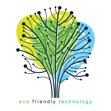 Vector illustration of futuristic tree in shape of heart, new technology. Eco friendly technology concept.