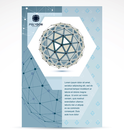 3d ball: Web technologies company booklet cover design. 3d origami abstract grayscale mesh object, vector abstract design element. Illustration