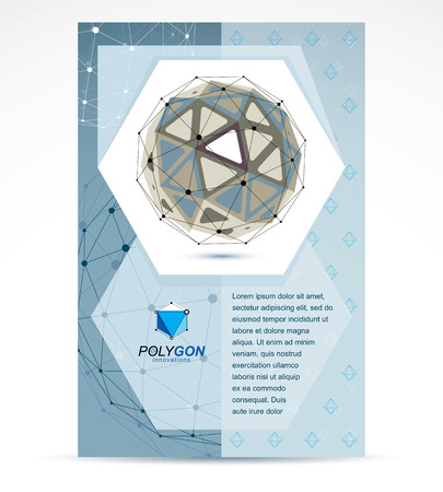 Web technologies company booklet cover design. 3d origami abstract grayscale mesh object, vector abstract design element. Illustration