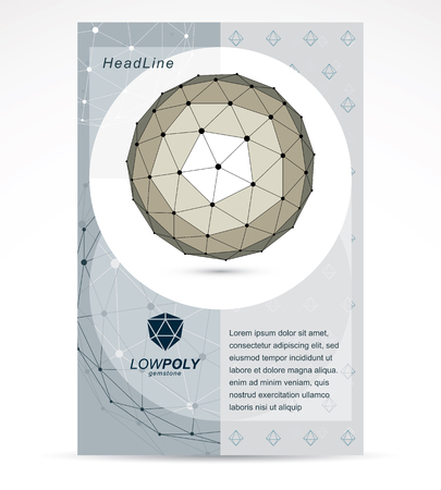 3d ball: Communication technologies advertising poster. 3d polygonal monochrome geometric faceted object, vector abstract design element Illustration
