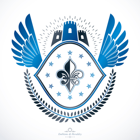 Vintage decorative emblem composition, heraldic vector.