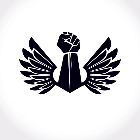 raise hand: Vector illustration created with clenched fist of a strong man and bird wings. No limits and restrictions conceptual emblem.