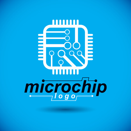 Vector technology cpu design with square microprocessor scheme. Computer circuit board, digital element. Technology microchip logo. Illustration