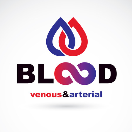 systole: Arterial and venous blood, blood circulation conceptual vector illustration. Healthy lifestyle conceptual logo for use in pharmacology.
