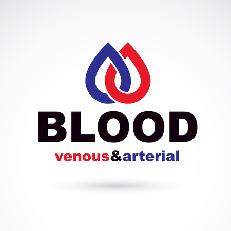 venous: Arterial and venous blood, blood circulation conceptual vector illustration. Healthy lifestyle conceptual logo for use in pharmacology.