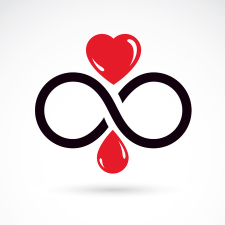 Vector illustration of heart shape and infinity symbol. Hematology theme, medical treatment design. Cardiology medical care vector emblem for use in pharmacy.