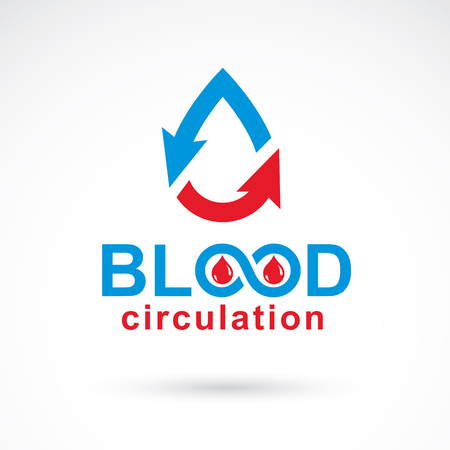 bleed: Vector illustration of heart shape with arrows and drops of blood. Blood circulation concept, rehabilitation creative symbol isolated on white.