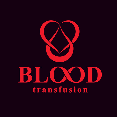 blood transfer: Blood transfusion inscription isolated on white and made using vector red blood drops, heart shape and limitless symbol. Take a concern about human life and health, blood donation logo.
