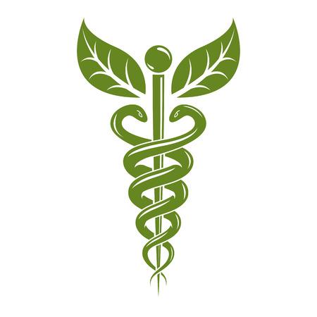 Caduceo símbolo médico, emblema de vector gráfico para su uso en la asistencia sanitaria. Metáfora de la fitoterapia.