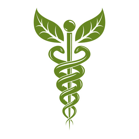 Caduceus medical symbol, graphic vector emblem for use in healthcare. Phytotherapy metaphor. Ilustração