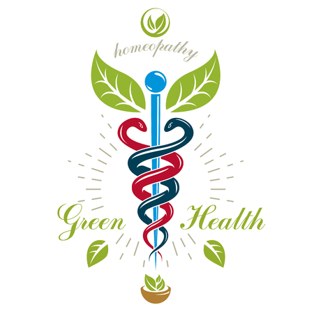 homeopathic: Pharmacy Caduceus icon, vector medical logo for use in holistic medicine, rehabilitation or pharmacology. Homeopathy creative symbol composed with mortar and pestle.