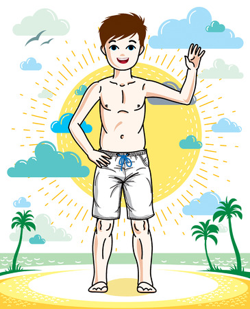 Cute little teenager boy standing in colorful stylish beach shorts. Vector attractive kid illustration. Fashion and lifestyle theme cartoon.