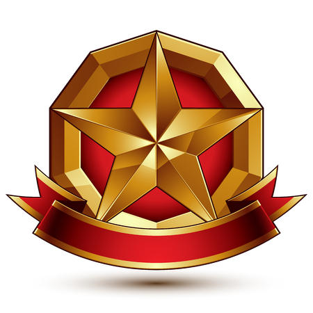glorious: Branded golden symbol with stylized pentagonal glossy star and red decorative curvy ribbon, best for use in web and graphic design. Refined vector icon placed in a circle. Sophisticated gold ring isolated on white background.