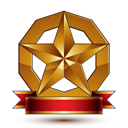 Heraldic golden symbol with stylized pentagonal star and red decorative curvy ribbon, best for use in web and graphic design. Sophisticated gold ring isolated on white background. Illustration