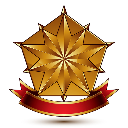 Vector complicated glossy design element, luxury 3d polygonal golden star placed on a decorative blazon, conceptual graphic coat of arms with wavy red ribbon.