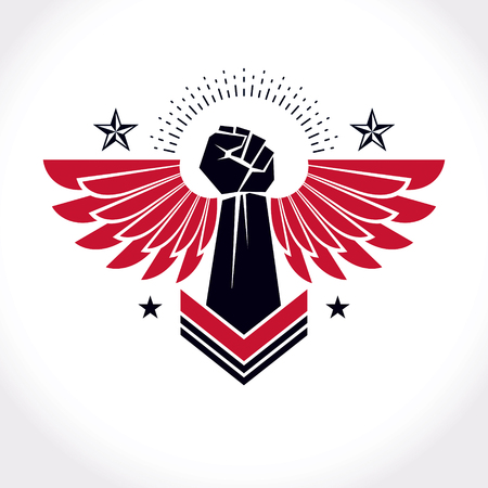 raise hand: Strong fist of a muscular man vector illustration. Best fighter vector symbol, triumph concept. Illustration