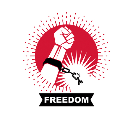 Rebels red arm with clenched fist in shackles breaks the chain. Freedom for the personality Illustration