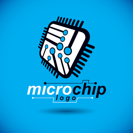 Vector microchip design, cpu. Information communication technology element, circuit board in square shape. Microprocessor scheme abstract logo. Çizim