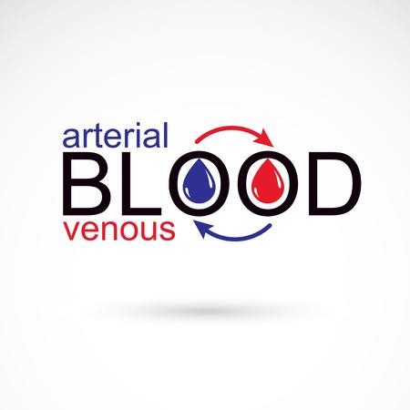 rh: Arterial and venous blood conceptual illustration, blood circulation metaphor, medical theme vector graphic symbol. Illustration