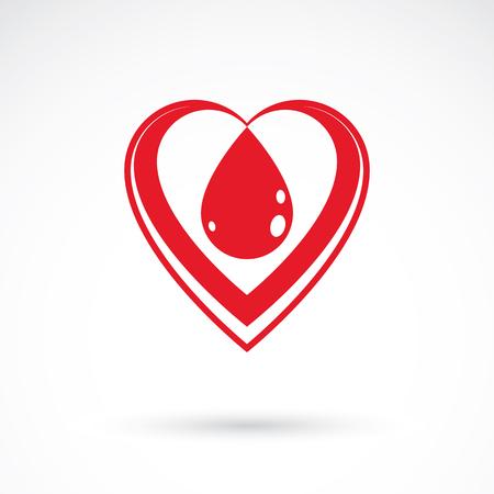 rh: Vector illustration of heart shape isolated on white. Hematology theme, medical treatment design for use in pharmacy business.