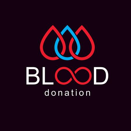 bleed: Vector blood donation inscription created with limitless symbol. Save life and donate blood conceptual illustration. Illustration