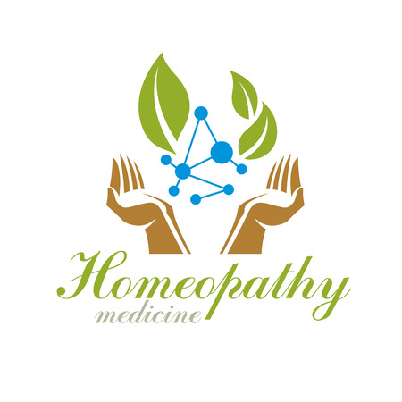 science symbols metaphors: Green leaves composed with molecule model symbol. Living in harmony with nature concept, green health idea logo. The impact of homeopathy on pharmacology and scientific research.