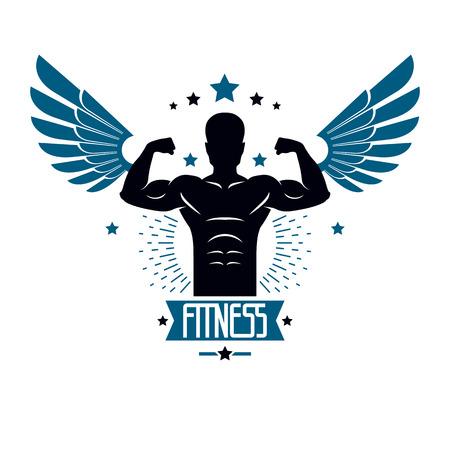 Fitness en zwaargewicht sportschool club logo sjabloon, retro stijl vector embleem met vleugels. Met sportman silhouet.