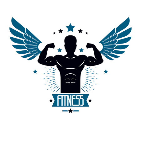Fitness et poids lourds gym club club logotype modèle, emblème de vecteur de style rétro avec des ailes. Avec la silhouette de sportif. Banque d'images - 83978098